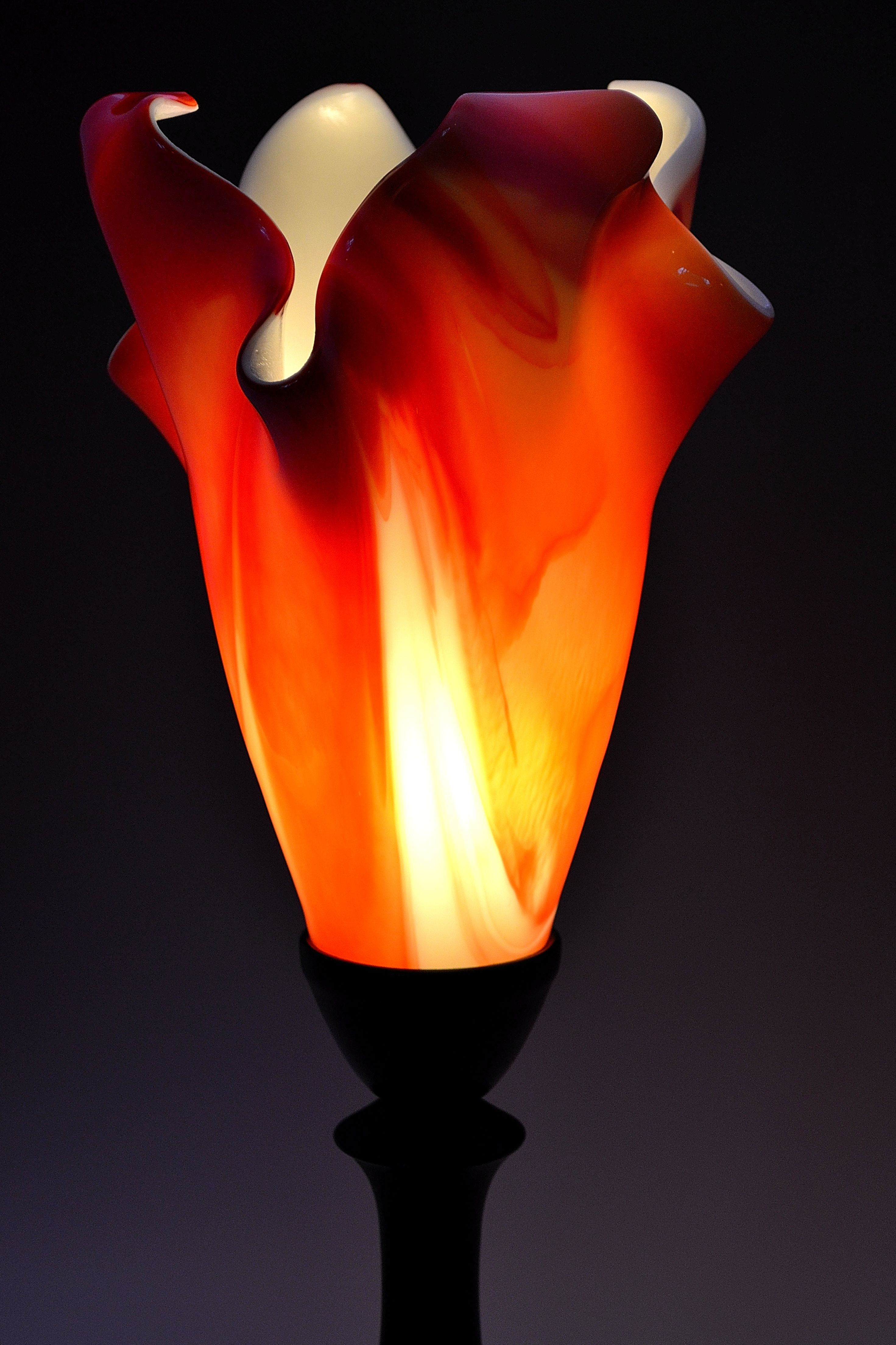 About >> Lucas Krenzin – Fused Glass Art » Abstract Orange Table Lamp